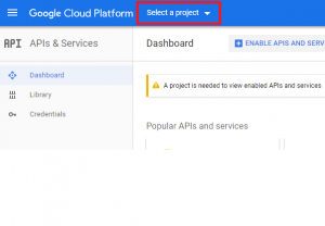 Google Cloud Platform Project Menu