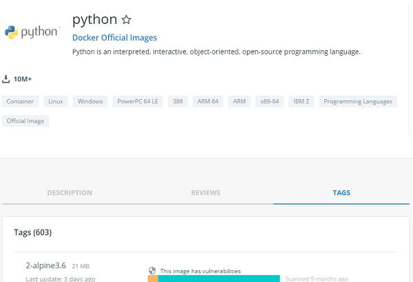 Python Docker image tags.
