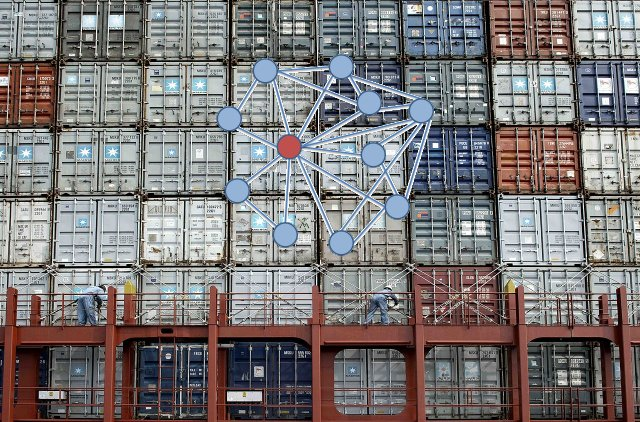 A network graph on top of an image of shipping containers